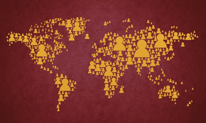 Humans around the world map
