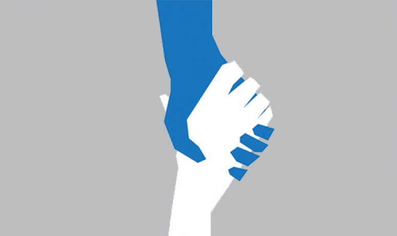 An illustrated graphic of two hands (one blue, one white) reaching out for one another