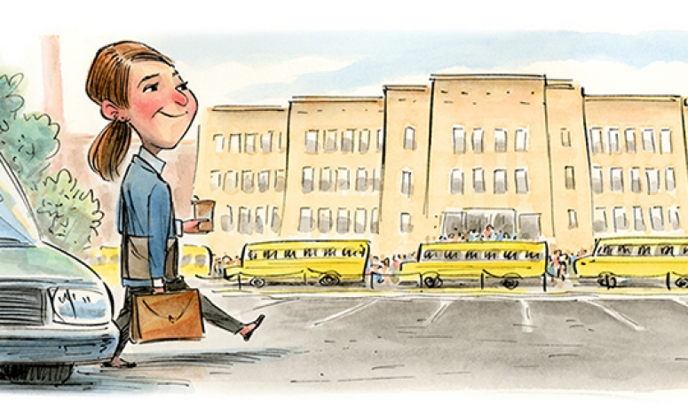 Illustration of teacher arriving for first day of school