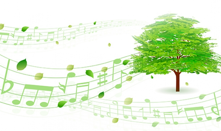 Illustration of a green tree with floating leaves rendered as musical notes