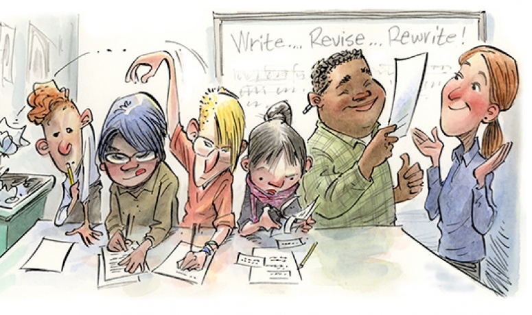Illustration of students writing and rewriting an assignment
