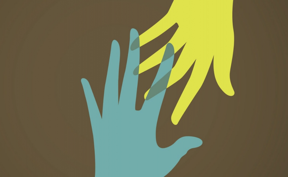 illustration of one hand reaching down to grab another hand, which is reaching up to meet it