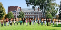 L&L cohort ilustrations in front of Longfellow