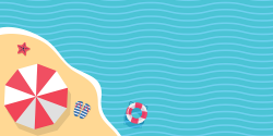 simple illustration of a beach with umbrella, flip flops, and buoy