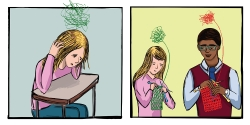 comic strip of a teen with yarn-like ball of thoughts and then teen and teacher knitting muddled thoughts together