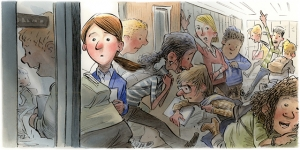 illustration of kids rushing out of the classroom, as teacher stands in doorway