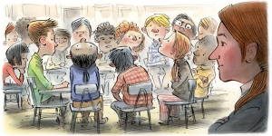 illustration of a group of kids sitting awkwardly in a circle, not making eye contact