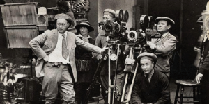 vintage shot of a film director on movie set