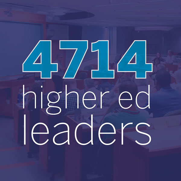 Graphic stating 4714 higher ed leaders served