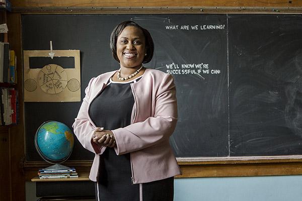 Darienne Driver in a classroom