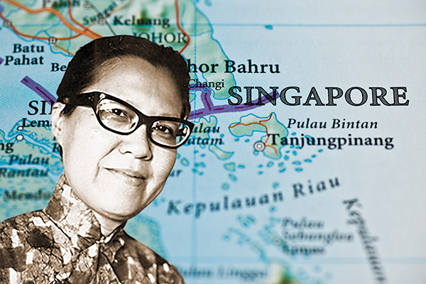 Ruth Wong over a map of Singapore
