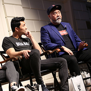 Asian American actors sit on a panel at HGSE.