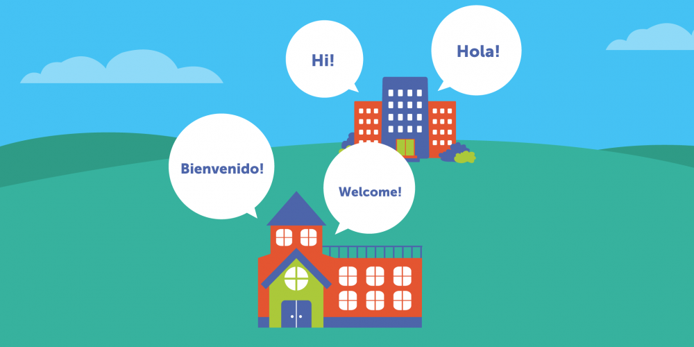 Digital illustration of a school with speech bubbles in multiple languages