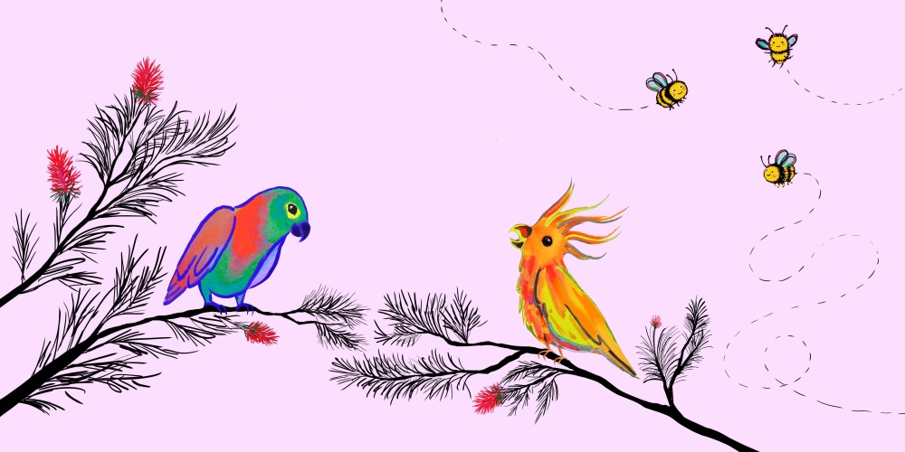 colorful drawing of birds and bees against pink background
