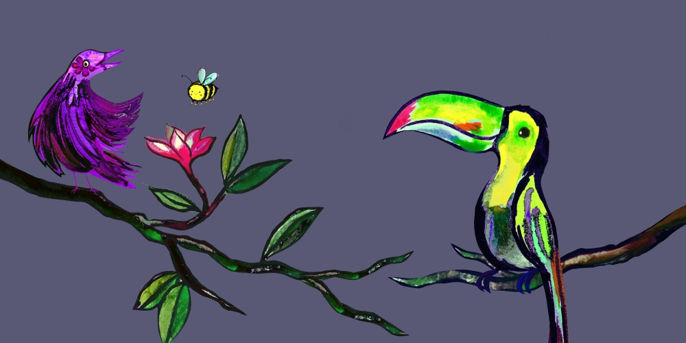 drawing of two brightly colored birds on a branch, with a bee near flower