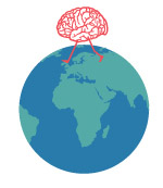An illustration of a brain walking on the earth.