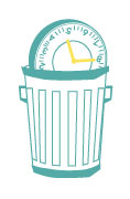 An illustration of a clock in a trashcan.