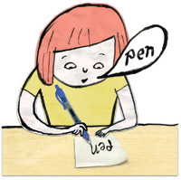 An illustration of a person writing the word pen while saying it.